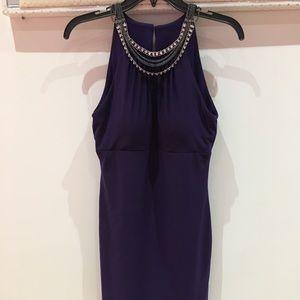 Royal purple workwear casual wedding guest dress
